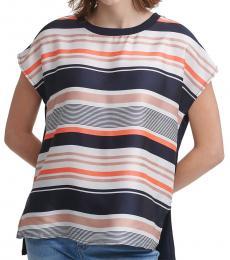 Multi Color Striped Mixed Media Top