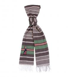 Moschino Grey Green Stripe Scarf