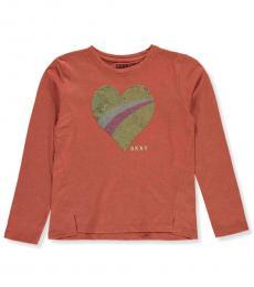DKNY Girls Cinnamon Sequin Heart T-Shirt