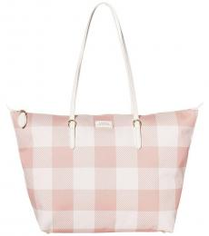 Ralph Lauren Mellow Pink Gingham Chadwick Large Tote