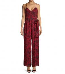 Michael Kors Red Printed Wide-Leg Jumpsuit
