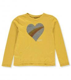 DKNY Girls Mustard Sequin Heart T-Shirt