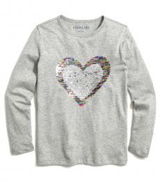 J.Crew Little Girls Heather Grey Sequin Heart T-Shirt