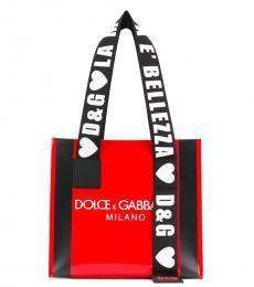 Dolce & Gabbana Red Printed Logo Medium Tote