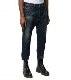 Navy Blue Cropped Narrot Jeans