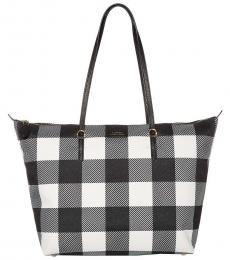 Ralph Lauren Black Gingham Chadwick Large Tote