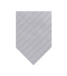 DKNY Silver Blue Open Block Grid Slim Tie