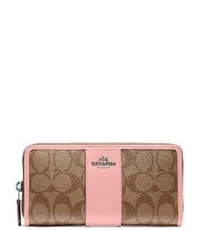 Coach Khaki/Pink Accordion Wallet