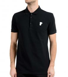 Versace Collection Black Graphic Print Polo