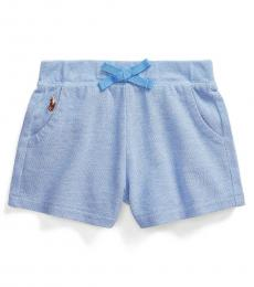 Ralph Lauren Baby Girls Harbor Island Blue Mesh Pull-On Shorts