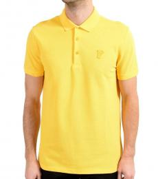 Versace Collection Yellow Graphic Print Polo
