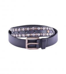 Dolce & Gabbana Black Stud Leather Belt
