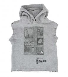 Diesel Boys Grey Sleeveless Hoodie