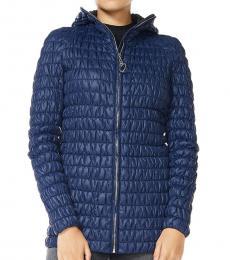 Love Moschino Dark Blue Quilted Solid Jacket