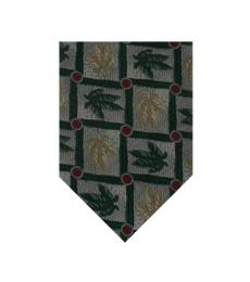 Green Neat Floral Print Tie