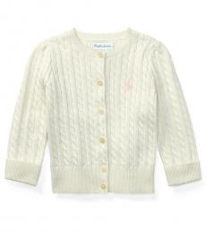 Ralph Lauren Baby Girls White Cable-Knit Cardigan
