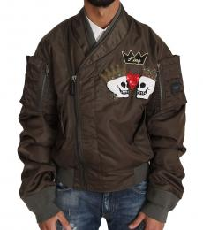Taupe Beaded Crown Skull Jacket