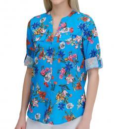 Calvin Klein Blue Floral Long-Sleeve Blouse