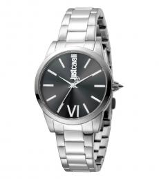 Just Cavalli Silver Black Dial Watch