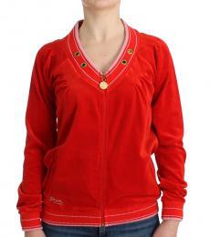 Just Cavalli Red Velvet Zip-Up Jacket