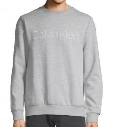 Grey Logo Cotton-Blend Sweatshirt