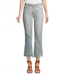 AG Adriano Goldschmied Grey Distressed Cropped Jeans