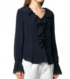 Ink Blue Silk Ruffled Blouse