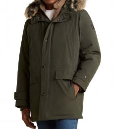 Dark Olive Quilted Bib Hooded Parka