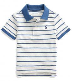 Baby Boys Sand Heather Striped Polo