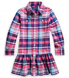 Little Girls Red/Blue Plaid Twill Shirtdress