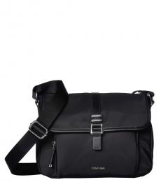 Black Multi-Pocket Medium Messenger Bag
