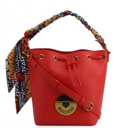 Love Moschino Red Graphic Handle Medium Bucket Bag