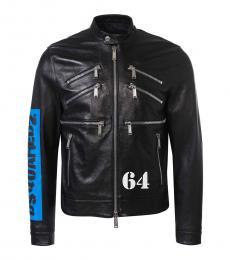 Dsquared2 Black Logo Leather Jacket