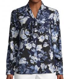 Karl Lagerfeld Air Blue Floral-Print Self-Tie Top