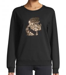 Black Sequin Graphic Sweatshirt