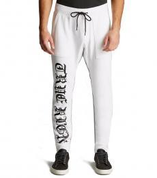 True Religion White Drop Crotch Sweatpants