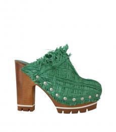 Green Raffia Wood Heels