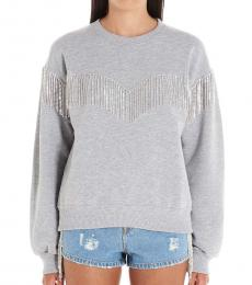 Chiara Ferragni Grey Fringe Detail Sweatshirt