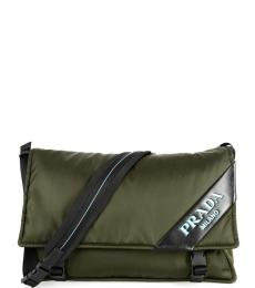 Prada Olive Logo Large Messenger Bag