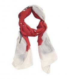 Moschino Red-Black Printed Modish Square Scarf