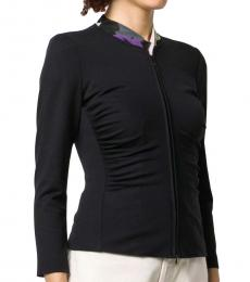 Emporio Armani Black  Ruched Stretch Fit Jacket