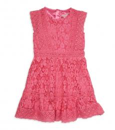 Little Girls Hot Pink Lace Dress