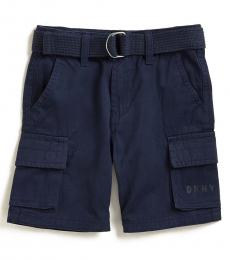 DKNY Little Boys Navy Twill Belted Shorts