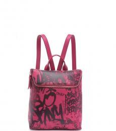 DKNY Electric Pink Tilly Graffiti Logo Mini Backpack