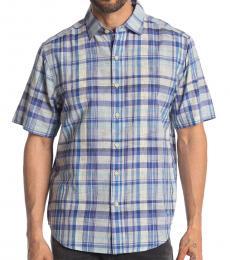 Blue-Short Sleeve Plaid Oasis Shirt