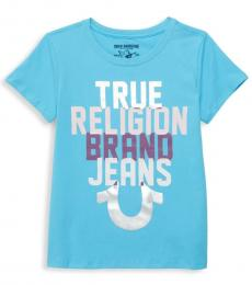 Girls Blue Logo Graphic T-Shirt