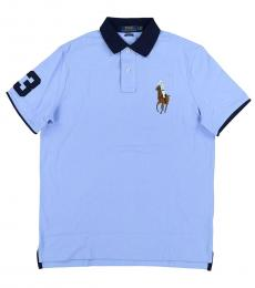 Blue Classic Fit Mesh Polo