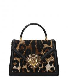 Dolce & Gabbana Leopard Print Devotion Small Satchel