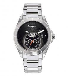 Salvatore Ferragamo Silver Urban Black Dial Watch