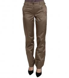 Roberto Cavalli Brown Mid Waist Straight Pants